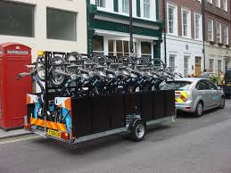 Bicycles on a traveling cart