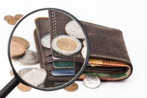 magnified money on wallet
